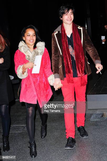 Actors Zoe Kravitz and Ezra Miller leave the Ziegfeld Theater on December 15 2009 in New York City