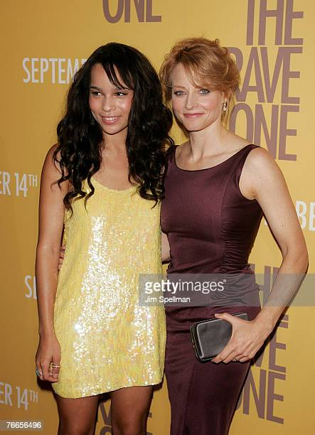 Actors Zoe Kravitz and Jodie Foster arrive at The Brave One Premiere at the Rose Theater at Time Warner Center on September 10 2007 in New York City