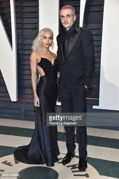 Actors Zoe Kravitz and Karl Glusman attend the 2017 Vanity Fair Oscar Party hosted by Graydon Carter at Wallis Annenberg Center for the Performing...
