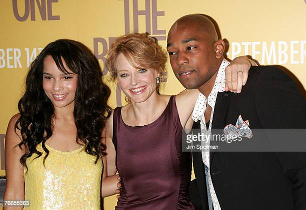 Actors Zoe Kravitz Jodie Foster and Dennis White arrive at The Brave One Premiere at the Rose Theater at Time Warner Center on September 10 2007 in...