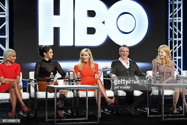 Actors Zoe Kravitz Shailene Woodley producer/actress Reese Witherspoon director/producer JeanMarc Vallee and producer/actress Nicole Kidman of the...