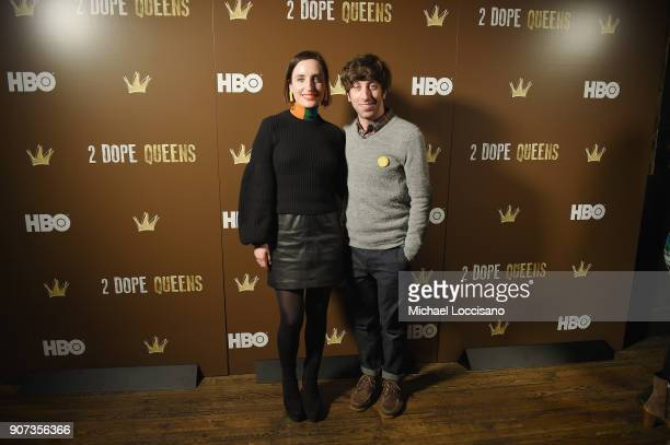 Actors Zoe ListerJones and Simon Helberg attend HBO's '2 Dope Queens' Winter Soiree during Sundance at Riverhorse On Main on January 19 2018 in Park...