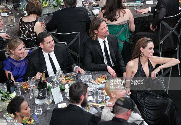 Actors Zoe Saldana Ali Hoffman Jonah Hill Brad Pitt Angelina Jolie Tilda Swinton and Sandro Kopp attend The 18th Annual Screen Actors Guild Awards...