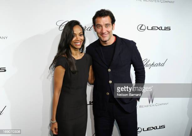 Actors Zoe Saldana and Clive Owen attend The Weinstein Company Party in Cannes hosted by Lexus and Chopard at Baoli Beach on May 19 2013 in Cannes...