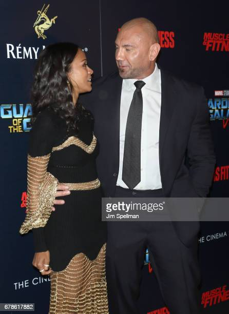 Actors Zoe Saldana and Dave Bautista attend the screening of Marvel Studios' 'Guardians Of The Galaxy Vol 2' hosted by The Cinema Society at the...