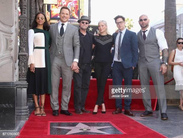 Actors Zoe Saldana Chris Pratt Michael Rooker Pom Klementieff Writer/director James Gunn and actor Dave Bautista at the Chris Pratt Walk Of Fame Star...