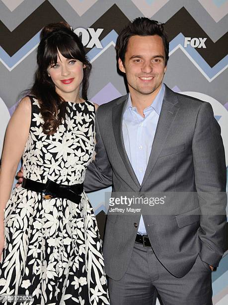 Actors Zooey Deschanel and Jake Johnson arrive at the 2013 TCA Winter Press Tour FOX AllStar Party at The Langham Huntington Hotel and Spa on January...