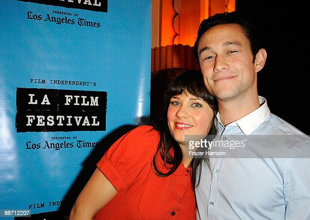 Actors Zooey Deschanel and Joseph GordonLevitt attend the 2009 Los Angeles Film Festival's screening of ' Days of Summer' at the Majestic Crest...