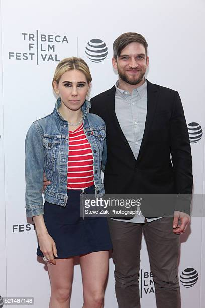 Actors Zosia Mamet and Evan Jonigkeit attend the Tribeca Film Festival Shorts: New York Now at Regal Battery Park 11 on April 15, 2016 in New York...
