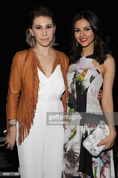 Actors Zosia Mamet and Victoria Justice pose backstage at the Rebecca Minkoff fashion show with TRESemme during Mercedes-Benz Fashion Week Fall 2015...