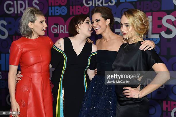 Actors Zosia Mamet Lena Dunham Allison Williams and Jemima Kirke attend the Girls season four series premiere at American Museum of Natural History...