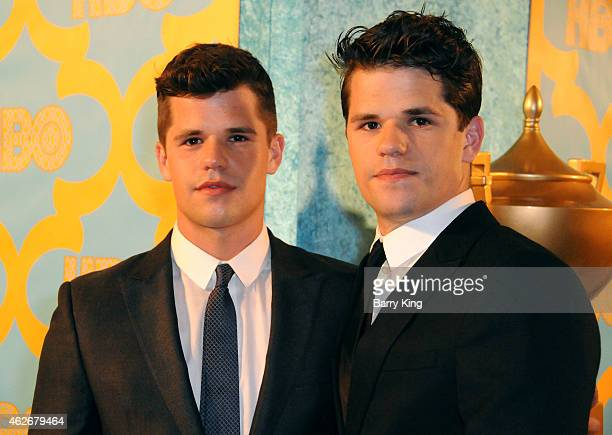 Actors/brothers Charlie Carver and Max Carver attend HBO's post Golden Globe Awards party at The Beverly Hilton Hotel on January 11 2015 in Beverly...