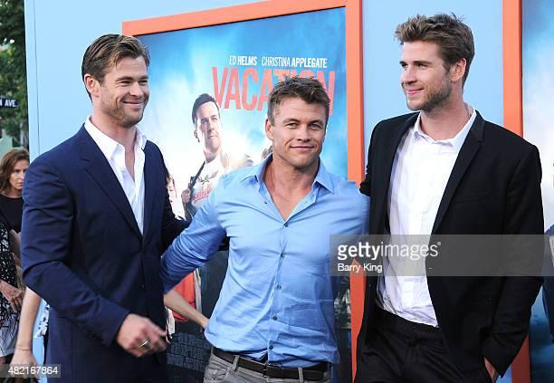 Actors/brothers Chris Hemsworth, Luke Hemsworth and Liam Hemsworth arrive at the Premiere Of Warner Bros. 'Vacation' at Regency Village Theatre on...