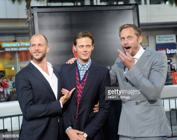 Actors/brothers Gustaf Skarsgard Bill Skarsgard and Alexander Skarsgard arrives for the Premiere Of Warner Bros Pictures And New Line Cinema's 'It'...