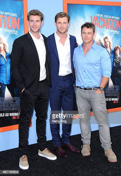 Actors/brothers Liam Hemsworth Chris Hemsworth and Luke Hemsworth arrive at the Premiere Of Warner Bros 'Vacation' at Regency Village Theatre on July...