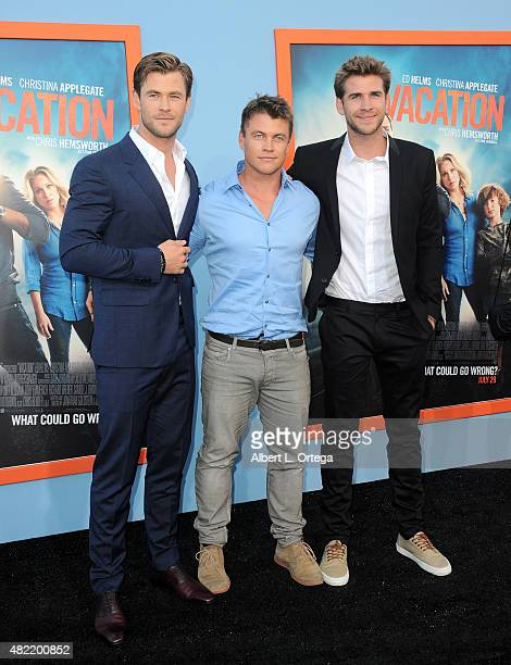 Actors/brothers Liam Hemsworth Luke Hemsworth and Chris Hemsworth arrive for the Premiere Of Warner Bros Pictures' Vacation held at Regency Village...