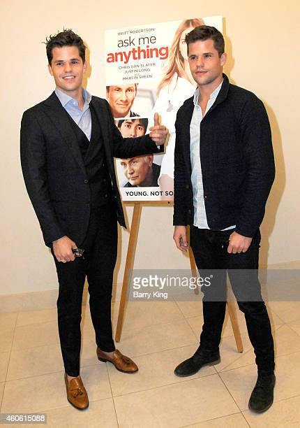 Actors/brothers Max Carver and Charlie Carver attend the Los Angeles Premiere of 'Ask Me Anything' at Clarity Theater on December 17 2014 in Beverly...