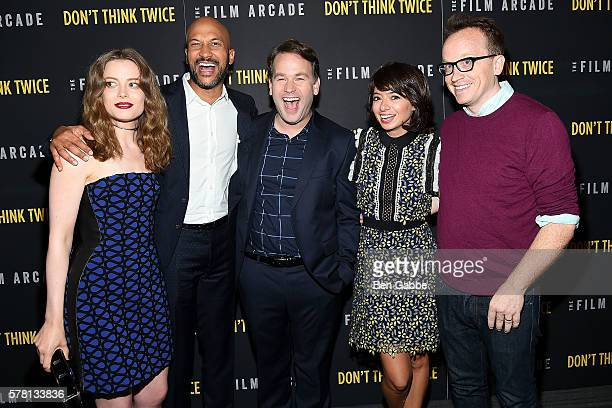 Actors/cast Gillian Jacobs KeeganMichael Key Mike Birbiglia Kate Micucci and Chris Gethard attend the Don't Think Twice New York Premiere at Sunshine...