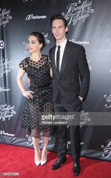Actors/cast members Emilia Clarke and Cory Michael Smith attend the Breakfast At Tiffany's Broadway Opening Night after party at The Edison Ballroom...