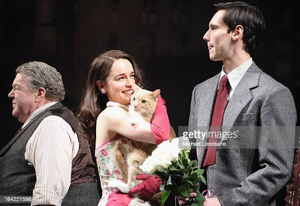 LR Actors/cast members George Wendt Emilia Clarke and Cory Michael Smith take part in the 'Breakfast At Tiffany's' Broadway Opening Night at Cort...