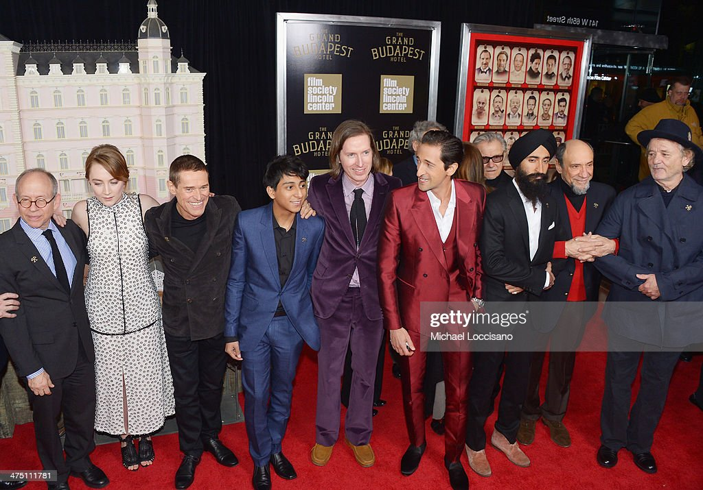 Actors/castmembers Bob Balaban, Saoirse Ronan, Willem Dafoe, Tony Revolori, filmmaker Wes Anderson, and actors/castmembers Harvey Keitel, Adrien Brody, Waris Ahluwalia, F. Murray Abraham and attend the 'The Grand Budapest Hotel' New York Premiere at Alice Tully Hall on February 26, 2014 in New York City.