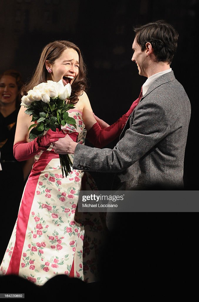 Actors/castmembers Emilia Clarke and Cory Michael Smith take part in the 'Breakfast At Tiffany's' Broadway Opening Night at Cort Theatre on March 20, 2013 in New York City.