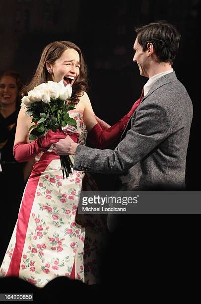 Actors/castmembers Emilia Clarke and Cory Michael Smith take part in the 'Breakfast At Tiffany's' Broadway Opening Night at Cort Theatre on March 20...