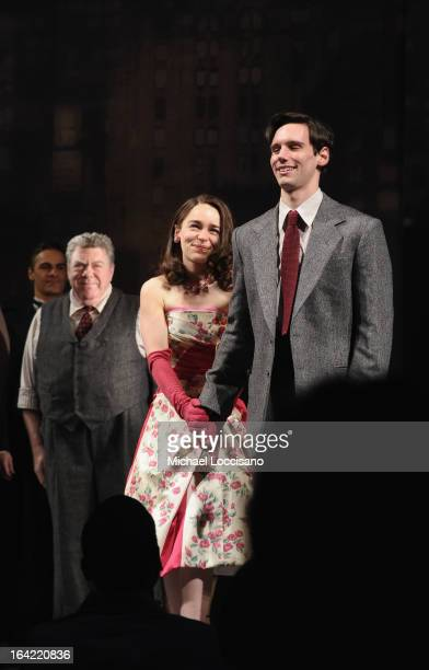 actors/castmembers George Wendt Emilia Clarke and Cory Michael Smith take part in the 'Breakfast At Tiffany's' Broadway Opening Night at Cort Theatre...