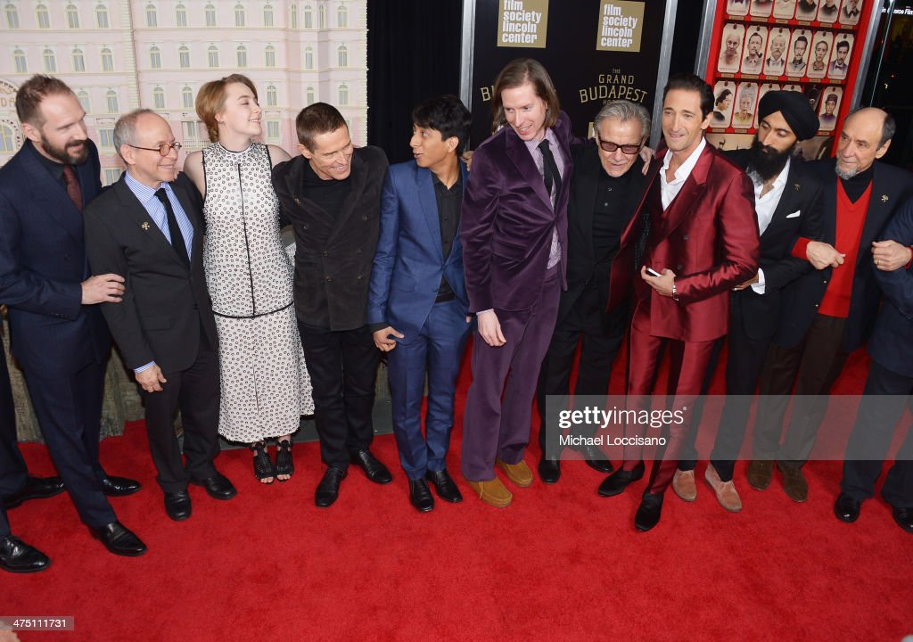 Actors/castmembers Ralph Fiennes, Bob Balaban, Saoirse Ronan, Willem Dafoe, Tony Revolori, filmmaker Wes Anderson, and actors/castmembers Harvey Keitel, Adrien Brody, Waris Ahluwalia and F. Murray Abraham attend the 'The Grand Budapest Hotel' New York Premiere at Alice Tully Hall on February 26, 2014 in New York City.