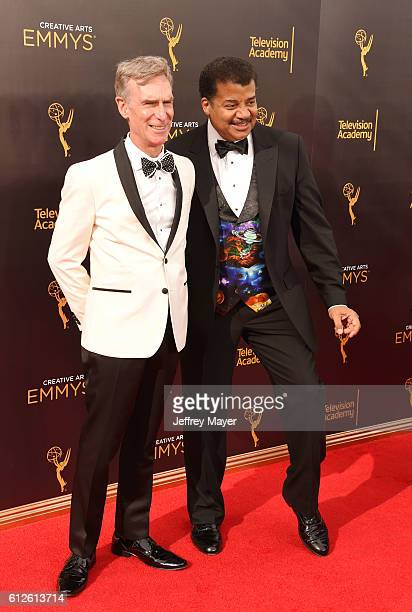 Actor/science educator Bill Nye and astrophysicist/cosmologist Neil deGrasse Tyson attend the 2016 Creative Arts Emmy Awards held at Microsoft...