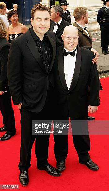 Actors/comedians David Walliams and Matt Lucas arrive at The Pioneer British Academy Television Awards at the Theatre Royal on April 17, 2005 in...