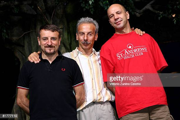 Actors/comedians Giacomo Poretti Giovanni Storti Aldo Baglio attend a photocall promoting the movie Il Cosmo Sul Como at the ICET Studios on June 30...