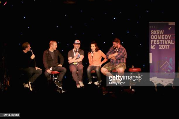 Actors/comedians Scott Aukerman Bob Odenkirk John Hodgman Jessica McKenna and Jon Gabrus perform onstage at Comedy Bang Bang during 2017 SXSW...