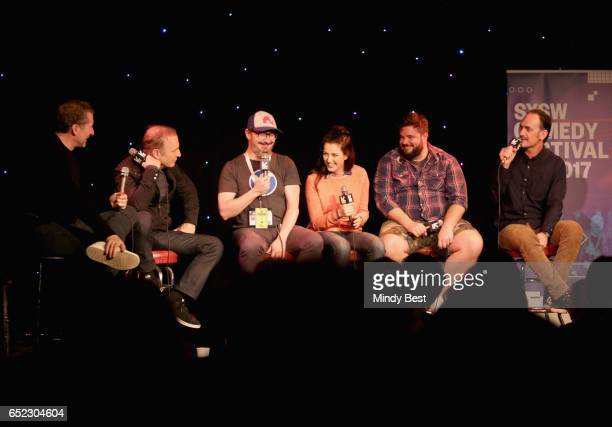 Actors/comedians Scott Aukerman Bob Odenkirk John Hodgman Jessica McKenna Jon Gabrus and Seth Morris perform onstage at Comedy Bang Bang during 2017...