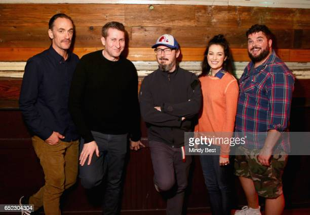 Actors/comedians Seth Morris Scott Aukerman John Hodgman Jessica McKenna and Jon Gabrus pose for a photo at Comedy Bang Bang during 2017 SXSW...