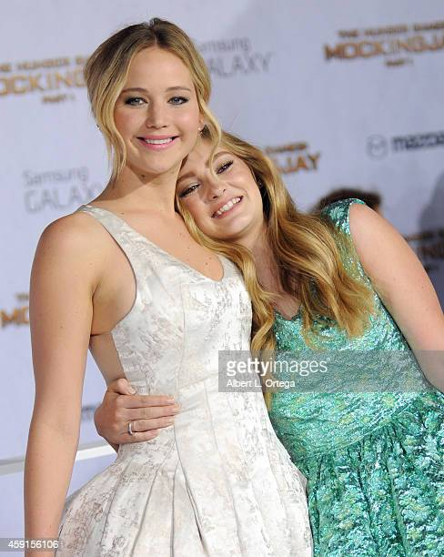 Actors/costars Jennifer Lawrence and Willow Shields arrive for the Premiere Of Lionsgate's The Hunger Games Mockingjay Part 1 held at Nokia Theatre...