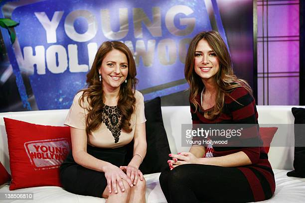 Actor/Screenwriter Annie Mumolo and host Nikki Novak at the Young Hollywood Studio on February 6 2012 in Los Angeles California