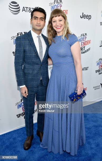 Actor/screenwriter Kumail Nanjiani and writer/director Emily V Gordon attend the 2018 Film Independent Spirit Awards on March 3 2018 in Santa Monica...
