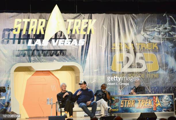 Actors/directors Rene Auberjonois Robert Duncan McNeill and Levar Burton attend Day 4 of Creation Entertainment's 2018 Star Trek Convention Las Vegas...