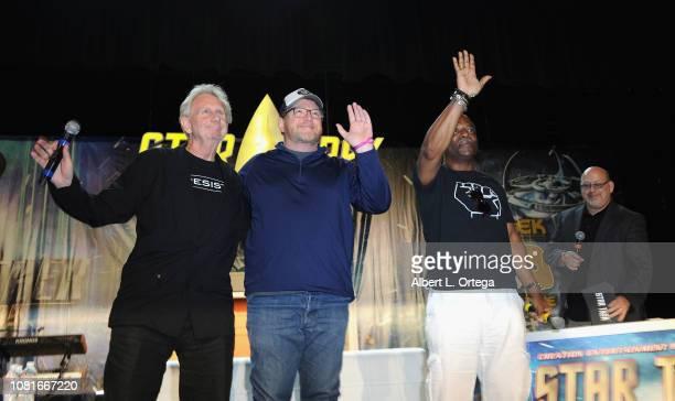 Actors/directors Rene Auberjonois Robert Duncan McNeill and Levar Burton attend Day 4 of Creation Entertainment's 2018 Star Trek Convention Las Vegas...