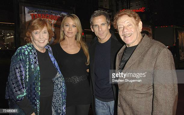 Actors/family members Anne Meara Christine Taylor Ben Stiller and Jerry Stiller attend New Line's Premiere Of Tenacious D In The Pick Of Destiny at...
