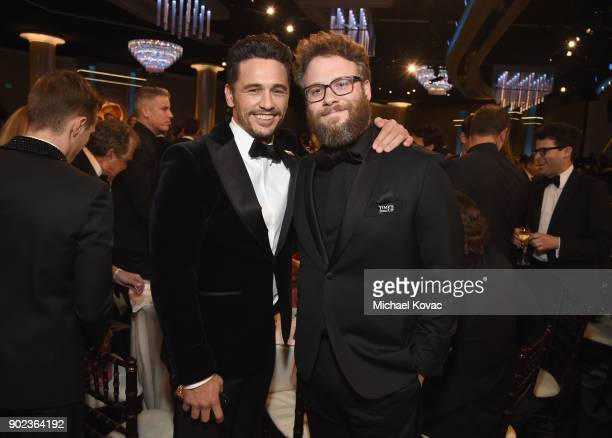 Actors/filmmakers James Franco and Seth Rogen celebrate The 75th Annual Golden Globe Awards with Moet Chandon at The Beverly Hilton Hotel on January...