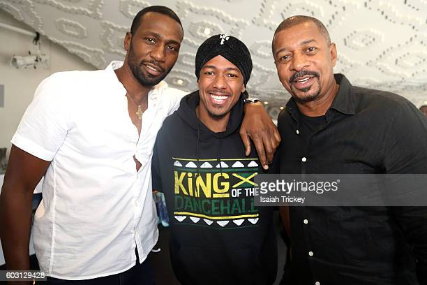 Actors/filmmakers Leon Robinson Nick Cannon and Robert Townsend attend the Blackhouse Panel Global Voices The Formula for Success during the 2016...