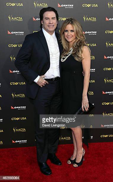 Actors/husband wife John Travolta and Kelly Preston attend the 2015 G'Day USA Gala featuring the AACTA International Awards presented by QANTAS at...