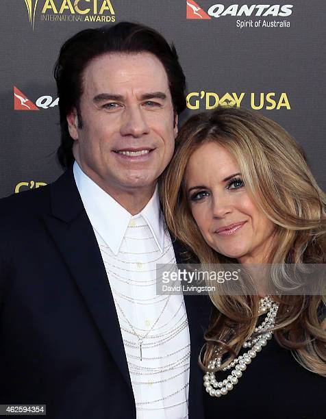 Actors/husband & wife John Travolta and Kelly Preston attend the 2015 G'Day USA Gala featuring the AACTA International Awards presented by QANTAS at...