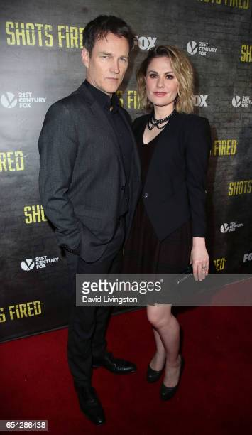 Actors/husband wife Stephen Moyer and Anna Paquin attend a screening and discussion of FOX's 'Shots Fired' at Pacific Design Center on March 16 2017...