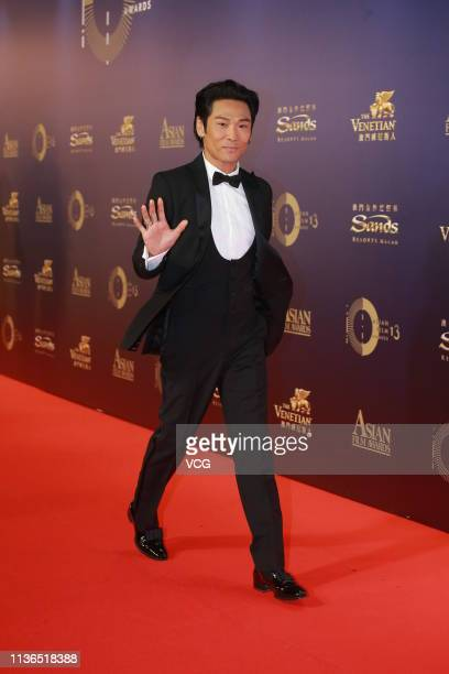 Actor/singer Alex To poses on the red carpet of the 13th Asian Film Awards on March 17 2019 in Hong Kong China