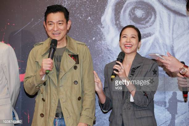 Actor/singer Andy Lau Takwah and actress Karena Lam attend a press conference of director Herman Yau Laito's film 'the White Storm 2 Drug Lords' on...