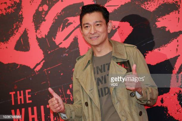 Actor/singer Andy Lau Takwah attends a press conference of director Herman Yau Laito's film 'the White Storm 2 Drug Lords' on August 30 2018 in Hong...