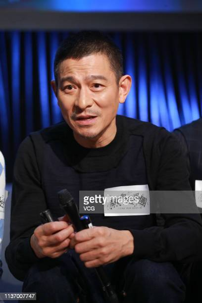 Actor/singer Andy Lau Takwah attends a press conference of film 'Find Your Voice' on March 20 2019 in Hong Kong China